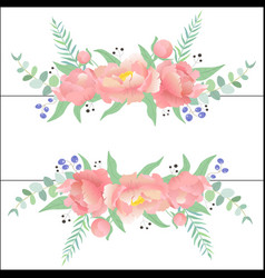 beautiful frame with peonies eucalyptus leaves vector image