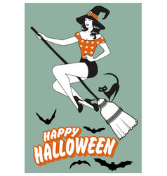 Beautiful pinup witch flying on a broom with a vector