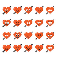 Big set funny cartoon heart character emotions set vector