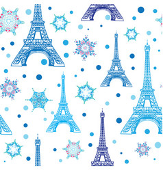 Blue white eifel tower paris and snowflakes vector