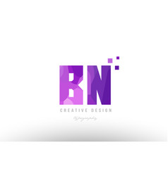Bn b n pink alphabet letter logo combination with vector