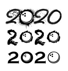 bowling 2020 new year numbers vector image