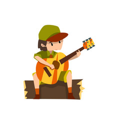 Boy playing guitar sitting on the log boy scout vector