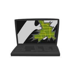 Broken laptop damaged electronic device cartoon vector
