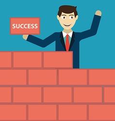 Businessman building a brick wall of success vector
