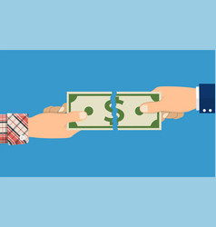 businessman hands tearing money banknote vector image