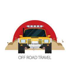 Car front view off-road vehicle travel vector
