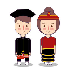 Central sulawesi province wedding couple cute vector