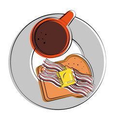 Coffee and bacon strips breakfast related image vector