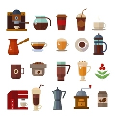 Coffee symbols set cup icons vector image
