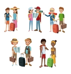 Collection couples traveling baggage tourist vector