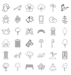 Common garden icons set outline style vector