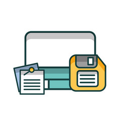 computer desktop with documents and floppy vector image
