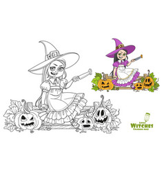 cute girl in witch costume sitting on fence vector image
