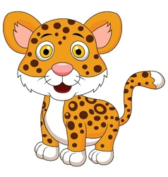 Cute leopard cartoon vector image