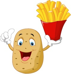 Cute potato holding a french fries give thumb up vector