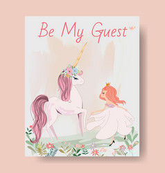 cute unicorn and princess girl cartoon invitation vector image