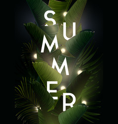 Dark summer tropical design with banana palm vector