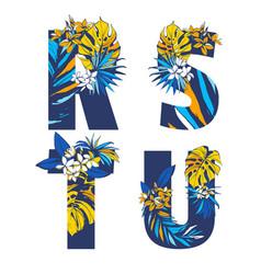 Decorative set tropical pattern letters alphabet vector