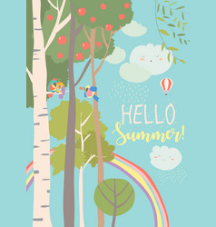 different trees in summer forest with rainbow vector image