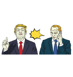 donald trump and vladimir putin portrait vector image