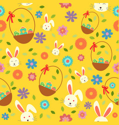 easter bunny eggs and spring wallpaper seamless vector image