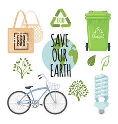 ecology concept with eco friendly icons vector image