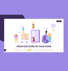 Ecommerce store global shopping landing page vector