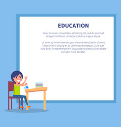 Education poster with profile of boy on chemistry vector