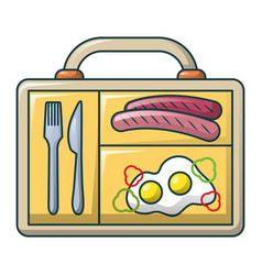 eggs and sausage icon cartoon style vector image