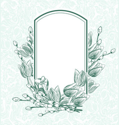 Engrave flowers frame tulips monochrome pattern vector