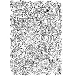 Fantasy doodle floral background vector image
