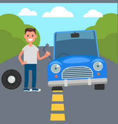 flat design car driving characters car sharing vector image