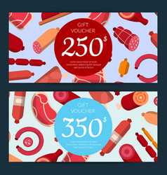 Flat meat and sausages icons discount or vector