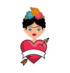 Frida kahlo with heart love vector