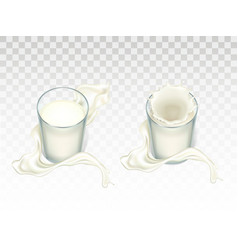 glasses with milk mockup for advertising vector image