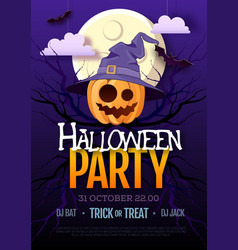 halloween disco party poster with jack o lantern vector image