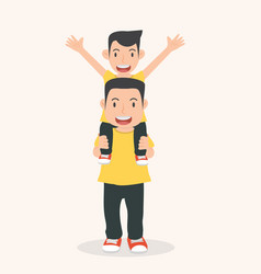 happy father with son a piggyback ride vector image