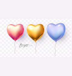 heart foil balloons collection shining soft vector image