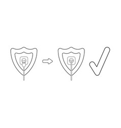 Icon concept shield with outlet and plug vector