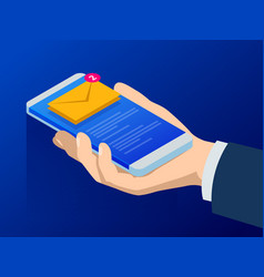 Isometric email or sms app on a smartphone screen vector
