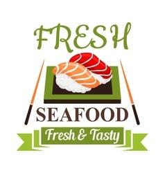 Japanese nigiri sushi icon for seafood menu design vector image