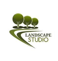 landscape design service icon garden park trees vector image