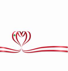Lebanese flag heart-shaped ribbon vector