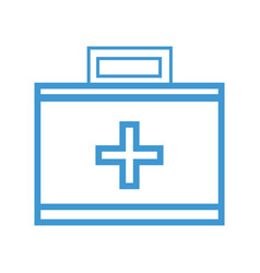 line suitcase with medical first aid kit vector image