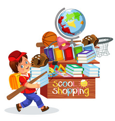 Little boy doing school shopping vector