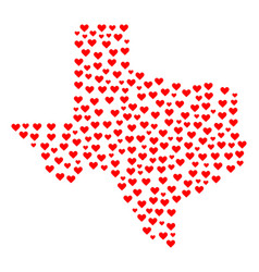 Love mosaic map of texas state vector