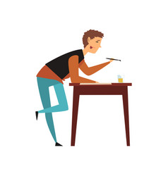 Male artist character drawing on a paper with vector
