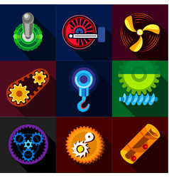 Mechanical gear icons set flat style vector