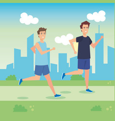 Men running in the park vector